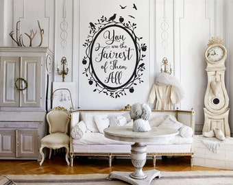 Snow White Fairest Of Them All Quote In Woodland Mirror Wall Decal   Custom  Vinyl Art