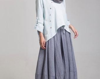 cotton linen maxi  skirt cotton maxi skirts asymmetric skirt  elastic waist  skirt bud skirt