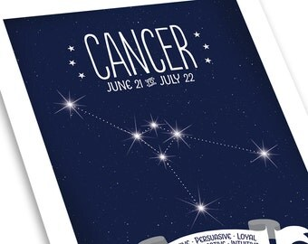 Cancer Zodiac Print • Zodiac Constellation Map • Midnight Blue • Cancer Star Map • Personalized Gift