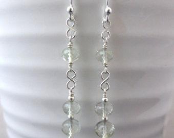 Green amethyst earrings, sterling silver