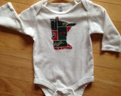 Minnesota Wild Baby Oneise ~ Size 3-6 Months ~ One-of-a-Kind ~ NEW Embellished with MN Wild NHL Fabric Applique ~ Great Unique Gift for Baby