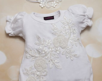 Infant Baby Girl Bubble Romper Set White Vintage Lace and Sequence Romper and Matching Headband