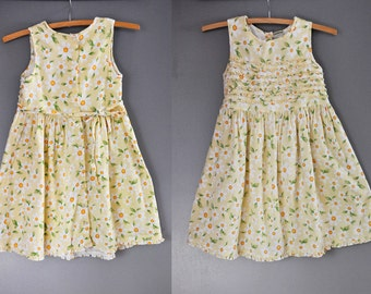 Laura Ashley Floral Girl Dress Daisy Floral Cotton Girls Pleated Button Back Sleeveless Boho Tea Garden Party Dress size 6 Years Old Girl