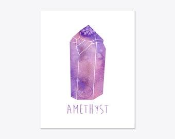 February Birthstone print, Amethyst printable poster, Gemstone Illustration, Purple Watercolor, Jewel wall art, Geometric Abstract art print