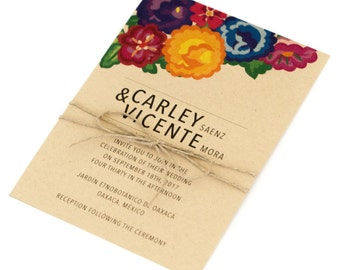 Colorful Wedding Invitations Floral Nature Inspired Modern Colorful Bohemian Destination Wedding Invite