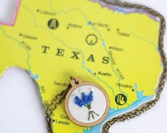 texas necklace texas bluebonnets bluebonnet jewelry texan charm texas pendant texas pride texan necklace texan jewelry southern lonestar