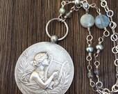 Large Vintage Art Nouveau St. Cecelia Medal Necklace, Labradorite and Gray Pearl Chain
