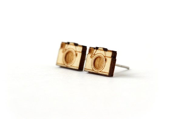 Camera studs - retro posts - tiny earrings - mini jewelry - photographer jewellery - lasercut maple wood - hypoallergenic surgical steel
