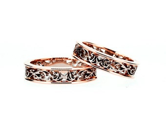 Filigree wedding band set made from rose and white gold, matching wedding rings, unique filigree ring, rose gold ring, man wedding band, men