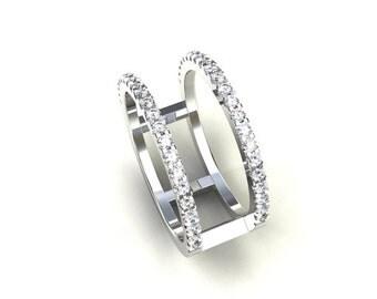 Unique diamond ring, diamond engagement ring, white gold wedding, wide diamond band, modern engagement ring, anniversary band, modern