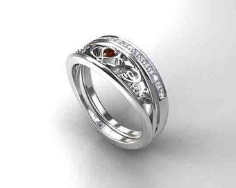 Black spinel filigree engagement ring set diamond ring half