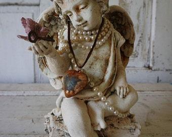 Angel cherub statue holding pink bird handmade ornate crown French farmhouse distressed painted angelic figure decor anita spero design