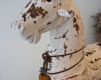 White distressed horse statue French rustic farmhouse wood carved figure hand painted wooden lg heavy horse home decor anita spero design