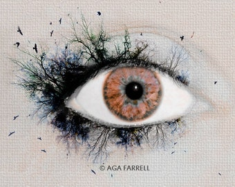 Science Art Print, Eye Poster, Anatomy Art, Gift For Her, Nature Photography, Medical Art, Brown Wall Art Decor, Eye Art, Gift for Women
