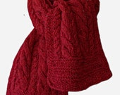 Hand Knit Scarf - Red Tweed Classic Cable Wool