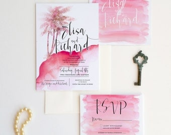 Tropical wedding invitation watercolor with palms {Vacaville design}