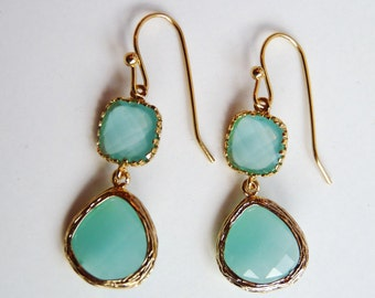 Gold Plated Aquamarine Ice Blue Czech Crystal Glass Earrings. Bridal Jewelry. Bridesmaid Jewelry (122)