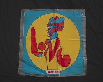 60s 70s Peter Max LOVE Pillow / 1960s 1970s Vinyl Inflatable Pillow POP ART Blow Up Pillow