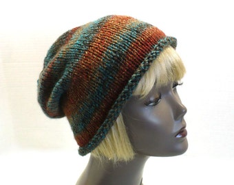 Hand Knit Rolled Brim Hat: Green and Rust Striped Bucket Hat, Retro Slouchy Hat, Handmade in the USA, Vegan Hats, Ready to Ship