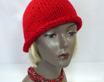Red Hat with Sequins: Hand Knit Hat with Rolled Brim, Twenties Style Hat, Woman's Red Hat, Red Knit Cloche, Bucket Hat, Ready to Ship