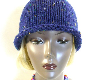 Blue Tweed Rolled Brim Hat: Hand Knit Hat, Blue Bucket Hat, Retro Style Woman's Hat, Handmade in the USA, Ready to Ship