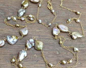 Pink and Bronze Freshwater Pearl Long Necklace - Opera Length Wire Wrap, Double Strand Baroque Pearls, Item NS1002