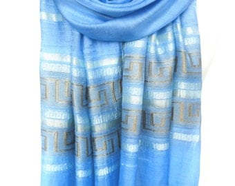 Sky Blue Scarf. Viscose Scarf. Metallic Shawl. Sparkle Scarf. Meander Design. Greek Lines Scarf. 20x70in (50x180cm) Ready2Ship