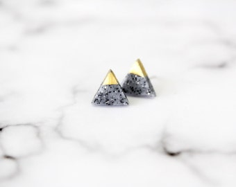 granite - gold dipped triangle stud earrings - dainty minimalist geometric jewelry