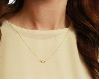 Crystal necklace / Gemstone link necklace / Necklace to layer / Layering / Gold or silver gem necklace / Simple everyday necklace