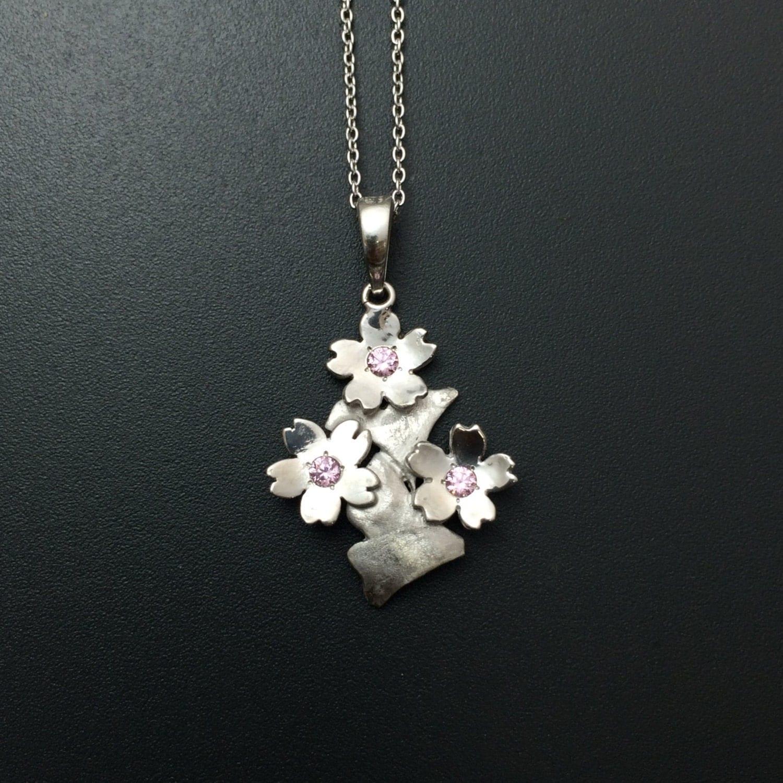 cherry blossom necklace jewelry japanese jewelry