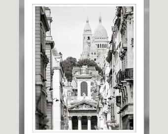 Large black and white city prints, Paris cityscape, Architecture photography, Black and white Paris print, Sacre Coeur architectural print