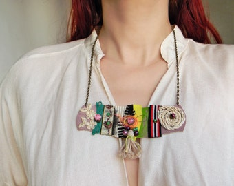 Gypsy Necklace Boho Gypsy Jewelry, Leather Bib Necklace, Collage Necklace, Mixed Media Assemblage, Funky necklace, Boho Tassel Necklace