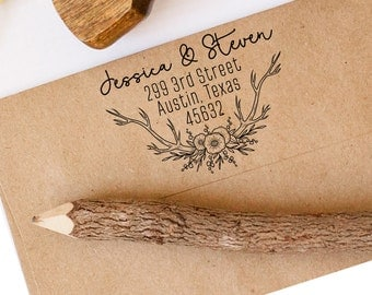 Return Address Stamp, Flower Stamp, Wedding Stamp, Calligraphy Stamp, Save the Date Stamp, Custom Address Stamp, Antler Stamp, Deer Stamp