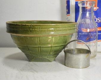 Vintage Green Crock, Stoneware Mixing Bowl, #8