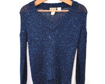 Vintage Sweater Mudd Sweater Sparkle Sweater 90s Pullover Sweater Blue Sweater Women's Sweater Long Sleeve Sweater