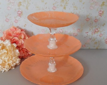 3 tier cupcake stand / Peach Orange Cake Stand / Dessert Tower /  Wedding cupcake tower / Baby shower