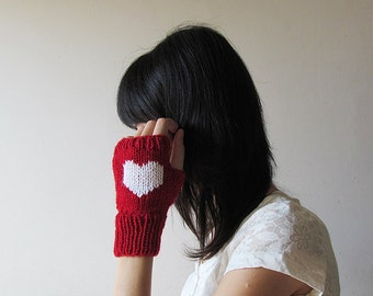 Hand Knit Fingerless Gloves in Dark Red - White Embroidered Heart - Seamless Knit Gloves - Wool Blend - Made to Order