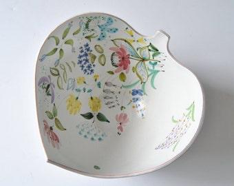 Large Stig Lindberg for Gustavsberg Studio Leaf Bowl With a Floral Decoration. Hand Signed