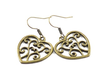 Casual heart bronze earrings charm boho chic earrings affordable gift