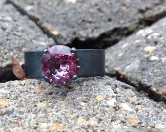 Sterling Silver Alexandrite Ring, Color Change Wedding Ring, 8mm Gemstone Engagement Ring, Blackened Silver Jewelry, Wide Band Ring