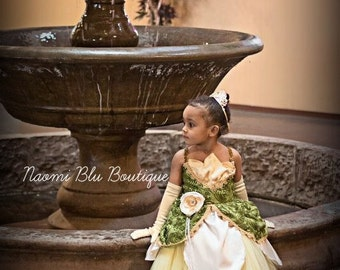 Disney Princess and the Frog Tiana Inspired Tutu Dress. For Princess birthdays, Themed parties, costume, Going to Disneyland. Sofia Gown
