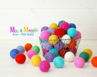 4CM Wool Felt Balls - Rainbow Pack - 100% Wool Felt Balls - (4cm/40mm) - Multicolored Felt Balls - Pastel Jumbo Balls - Mix & Match Balls