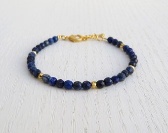 Lapis lazuli bracelet, Lapis bead bracelet