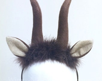 GAZELLE ANTELOPE ANTLERS Headband, horns, yak, wood nimph, zootopia, Halloween, pixie, girls, kids, adult, lion play, safari, costume, adult