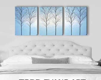 SALE Bedroom Wall Art Canvas Home Decor Wall Decor Wall Hangings Modern Art Home & Living Room Large Art Painting Light Blue Paintings 48x20