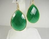 Large Green Onyx Teardrop Earrings, Gold Vermeil Bezel Set, Statement Earrings, Large Earrings, Green Earrings, Inspired By Stella & Dot