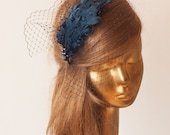 Navy Blue Birdcage Veil FASCINATOR with Feathers. Cocktail Fascinator