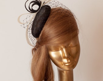 BLACK FASCINATOR Sinamay Bridal Fascinator with Black Veil , Derby Mini Hat
