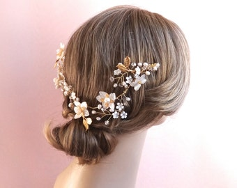 Bridal hair vine, wedding hair wreath, wedding hair tiara, wedding headpiece, bridal headpiece, gold wedding hair vine, crown Style 427