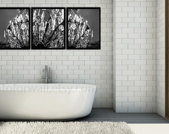 Set of 3 prints crystal chandelier photography, shabby chic chandelier, Bathroom art, black and white photography, Large wall art
